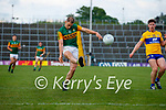 Stephen O'Brien, Kerry, in action against Cillian Rouine, Clare, during the Munster Football Championship game between Kerry and Clare at Fitzgerald Stadium, Killarney on Saturday.