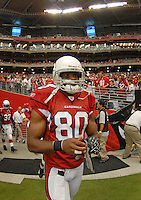 Aug 18, 2007; Glendale, AZ, USA; Arizona Cardinals wide receiver Bryant Johnson (80) against the Houston Texans at University of Phoenix Stadium. Mandatory Credit: Mark J. Rebilas-US PRESSWIRE Copyright © 2007 Mark J. Rebilas