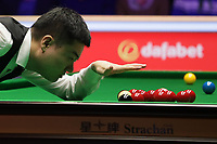 12th January 2020, Alexandra palace, London, United Kingdom; Ding Junhui of China looks across the table during the round 1 match between Ding Junhui of China and Joe Perry of England at Snooker Masters 2020 at the Alexandra Palace . Perry won 6 frames to 3.