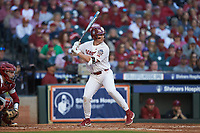 Conor McKenna (5) of the Oklahoma Sooners at bat against the Arkansas Razorbacks in game two of the 2020 Shriners Hospitals for Children College Classic at Minute Maid Park on February 28, 2020 in Houston, Texas. The Sooners defeated the Razorbacks 6-3. (Brian Westerholt/Four Seam Images)
