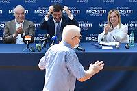 The candidate mayor of Rome for the right-center coalition Enrico Michetti, the leader of Lega right party Matteo Salvini and the leader of Fratelli d Italia right party Giorgia Meloni react when an old man comes in front of the stage to greet them during an electoral campaign press conference for the mayoral election in Spinaceto, a peripheral neighborhood in the west of Rome on October 1st 2021. Photo Andrea Staccioli Insidefoto