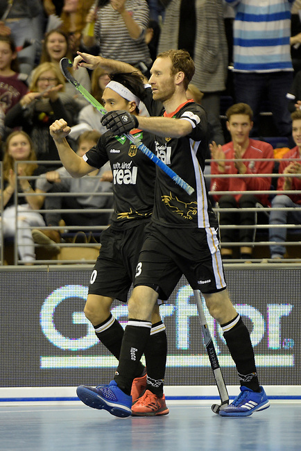 Berlin, Germany, February 10: During the FIH Indoor Hockey World Cup semi-final match between Germany (black) and Iran (white) on February 10, 2018 at Max-Schmeling-Halle in Berlin, Germany. Final score 6-2. (Photo by Dirk Markgraf / www.265-images.com) *** Local caption *** Danny NGUYEN #10 of Germany, Fabian PEHLKE #23 of Germany