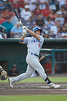 Brett Siddall (24) of the Stockton Ports follows through on his swing against the Inland Empire 66ers at San Manuel Stadium on July 6, 2017 in San Bernardino, California. The Ports defeated the 66ers 7-6.  (Brian Westerholt/Four Seam Images)