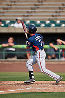 Potomac Nationals designated hitter Alec Keller (3) follows through on a swing during the first game of a doubleheader against the Lynchburg Hillcats on June 9, 2018 at Calvin Falwell Field in Lynchburg, Virginia.  Lynchburg defeated Potomac 5-3.  (Mike Janes/Four Seam Images)