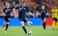 HOUSTON, TX - JUNE 13: Andi Sullivan #25 of the United States takes a shot during a game between Jamaica and USWNT at BBVA Stadium on June 13, 2021 in Houston, Texas.