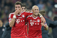 25.05.2013, Wembley Stadion, London, ENG, UEFA Champions League, FC Bayern Muenchen vs Borussia Dortmund, Finale, im Bild Jubel Mario MANDZUKIC (FC Bayern Muenchen - 9) - Arjen ROBBEN (FC Bayern Muenchen - 10) nach dem Sieg im Champions League Finale mit 2-1 gegen Borussia Dortmund // during the UEFA Champions League final match between FC Bayern Munich and Borussia Dortmund at the Wembley Stadion, London, United Kingdom on 2013/05/25. EXPA Pictures © 2013, PhotoCredit: EXPA/ Eibner/ Gerry Schmit<br /> <br /> ***** ATTENTION - OUT OF GER ***** <br /> 25/5/2013 Wembley<br /> Football 2012/2013 Champions League<br /> Finale <br /> Borussia Dortmund Vs Bayern Monaco <br /> Foto Insidefoto