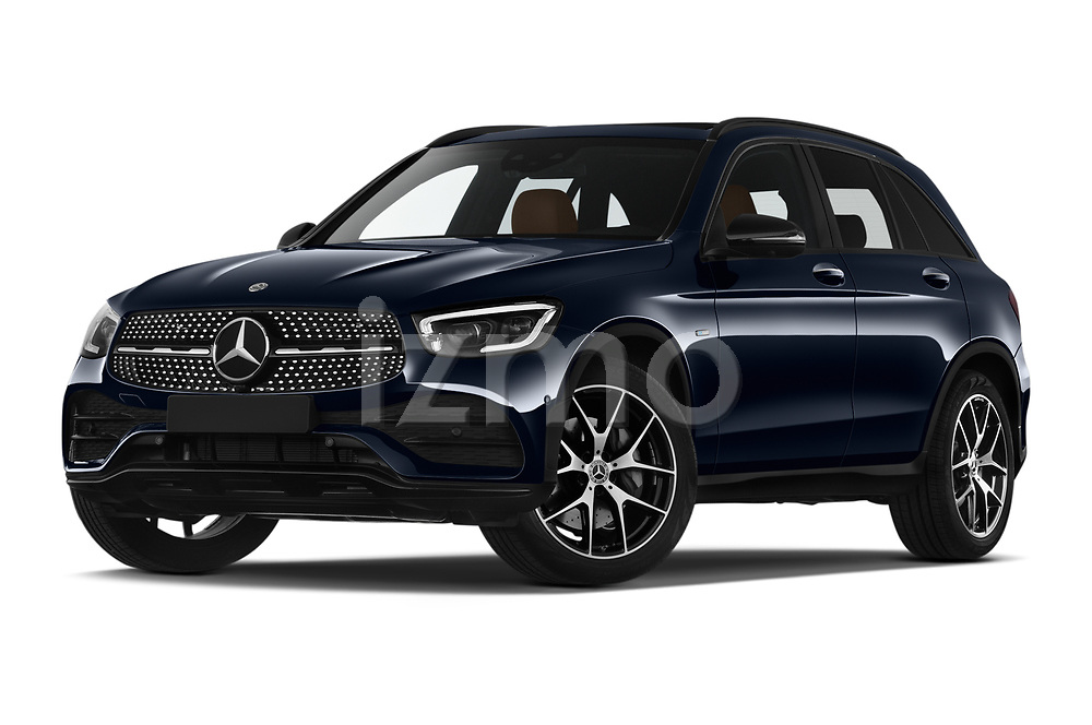 Stock pictures of low aggressive front three quarter view of 2020 Mercedes Benz GLC AMG-Line 5 Door SUV Low Aggressive