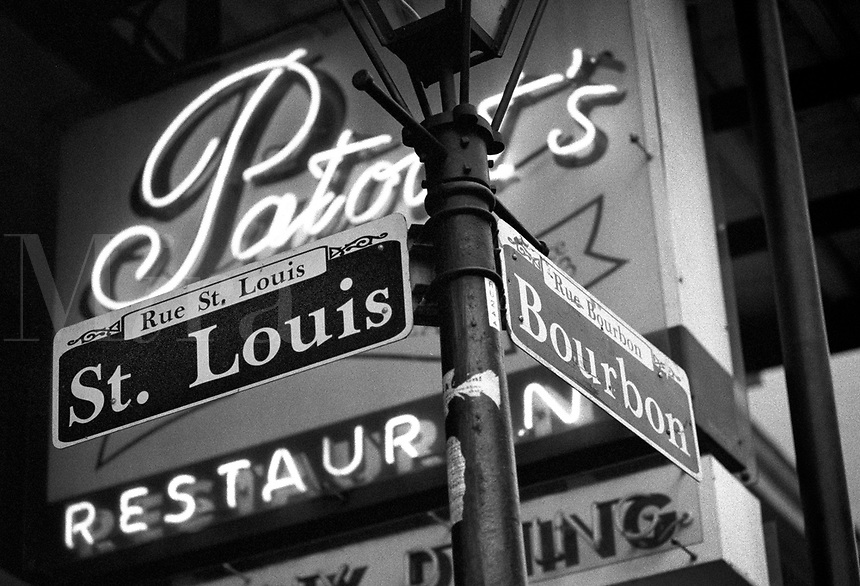 Corner of St. Louis and Bourbon Street,  famous party streets in New Orleans. New Orleans Louisiana United States French Quarter.