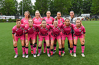 players of Charleroi with Perrine Balant , Renate-Ly Mehevets , Clotilde Codden , Alysson Duterne , Josephine Delvaux , Kristina Erman , Hanne Hellinx , Chrystal Lermusiaux , Stephanie Pirotte , Melissa Tom and Aster Janssen pictured posing for the teampicture during a female soccer game between Sporting Charleroi and White Star Woluwe on the first matchday in the 2021 - 2022 season of Belgian Scooore Womens Super League , friday 20 August 2021 in Marcinelle , Belgium . PHOTO SPORTPIX | DAVID CATRY