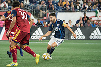 FOXBOROUGH, MA - SEPTEMBER 21: Carles Gil #22 of New England Revolution controls the ball during a game between Real Salt Lake and New England Revolution at Gillette Stadium on September 21, 2019 in Foxborough, Massachusetts.