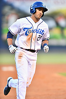 Asheville Tourists Alex McKenna (23) rounds the bases after hitting a home run during a game against the Bowling Green Hot Rods on May 25, 2021 at McCormick Field in Asheville, NC. (Tony Farlow/Four Seam Images)