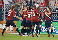 The US Men's Team celebrates a goal by Brian McBride against Latvia at Rentschler Field, East Hartford, CT, May 28, 2006. The USA won 1-0.
