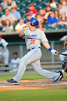 Mike Rose swings at a pitch at Smokies Park June 11, 2009  in Sevierville, TN (Photo by Tony Farlow/ Four Seam Images)