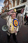 © Joel Goodman - 07973 332324 . 20/11/2014 . Kent , UK . Howling Laud Hope of the Monster Raving Loony Party , out campaigning in Rochester  . The Rochester and Strood by-election campaign following the defection of sitting MP Mark Reckless from Conservative to UKIP . Photo credit : Joel Goodman