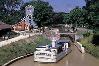 "Providence Metropark; Toledo, Ohio; mule-drawn canal boat, """"The Volunteer""""; restored section of the Miami & Erie Canal, Lock No. 14; Isaac Ludwig Mill, restored water-powered saw and grist mill."