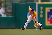 LSU Tigers shortstop Alex Bregman (8) fields a ground ball during the Southeastern Conference baseball game against the Texas A&M Aggies on April 25, 2015 at Alex Box Stadium in Baton Rouge, Louisiana. Texas A&M defeated LSU 6-2. (Andrew Woolley/Four Seam Images)