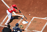 23 August 2009: Washington Nationals' infielder Ronnie Belliard connects for a 2-run single in the first inning against the Milwaukee Brewers at Nationals Park in Washington, DC. The Nationals defeated the Brewers 8-3 to take the third game of their four-game series, snapping a five games losing streak. Mandatory Credit: Ed Wolfstein Photo