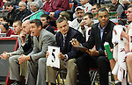 Tony Bennett, Head Basketball Coach at Washington State University, watches the action with his coaching staff (left to right; Ronnie Wideman, Mike Heideman, Tony Bennett, Matt Woodley and Ben Johnson) during a game on November 21, 2008, in Pullman, Washington, against Sacramento State.  The Cougars played their signature style of defense under Coach Bennett as they rolled to a 76-55 victory at Friel Court.
