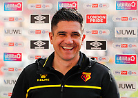 1st May 2021; Brentford Community Stadium, London, England; English Football League Championship Football, Brentford FC versus Watford; Watford Manager Xisco Munoz smiling before answering questions from the written press after full time