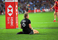New Zealand's Michaela Blyde scores during the women's cup final against Canada on day two of the 2020 HSBC World Sevens Series Hamilton at FMG Stadium in Hamilton, New Zealand on Sunday, 26 January 2020. Photo: Dave Lintott / lintottphoto.co.nz