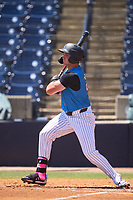 Tampa Tarpons Jake Sanford (22) bats during a game against the Dunedin Blue Jays on May 9, 2021 at George M. Steinbrenner Field in Tampa, Florida.  (Mike Janes/Four Seam Images)