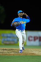 Myrtle Beach Pelicans relief pitcher Manuel Rondon (13) in action against the Winston-Salem Dash at TicketReturn.com Field on May 16, 2019 in Myrtle Beach, South Carolina. The Dash defeated the Pelicans 6-0. (Brian Westerholt/Four Seam Images)