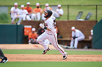 Bowie Baysox Brett Cumberland (28) runs the bases after hitting a double during an Eastern League game against the Akron RubberDucks on May 30, 2019 at Prince George's Stadium in Bowie, Maryland.  Akron defeated Bowie 9-5.  (Mike Janes/Four Seam Images)