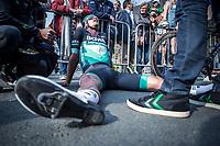 Rudiger Selig (GER/Bora Hansgrohe), exhausted after finishing.<br /> <br /> 82nd Gent – Wevelgem in Flanders Fields 2019 (1.UWT)<br /> Deinze – Wevelgem: 251,5km<br /> ©kramon