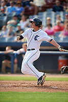 Connecticut Tigers left fielder Daniel Reyes (55) follows through on a swing during a game against the Lowell Spinners on August 26, 2018 at Dodd Stadium in Norwich, Connecticut.  Connecticut defeated Lowell 11-3.  (Mike Janes/Four Seam Images)