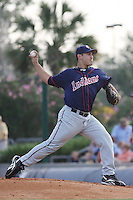 Paolo Espino of the Kinston Indians pitching against the Myrtle Beach Pelicans on June 9, 2009 in Myrtle Beach, SC.