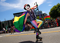 The 43rd annual Seattle Pride Parade in Seattle, WA on June 25, 2017. Festivities continued afterwards at Ozzie's bar which held specials sponsored by Hop Valley Brewing Co. (© Karen Ducey)
