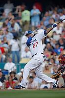 Matt Kemp of the Los Angeles Dodgers during a 2007 MLB season game at Dodger Stadium in Los Angeles, California. (Larry Goren/Four Seam Images)