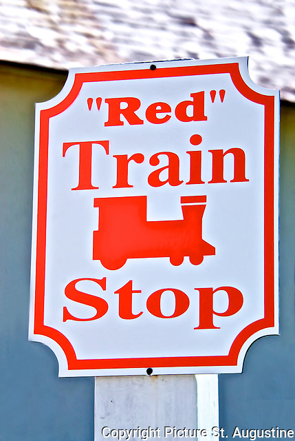 """""""Red"""" Train Stop sign on Aviles Street in historic downtown St. Augustine, Florida"""