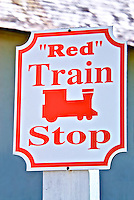 """Red"" Train Stop sign on Aviles Street in historic downtown St. Augustine, Florida"
