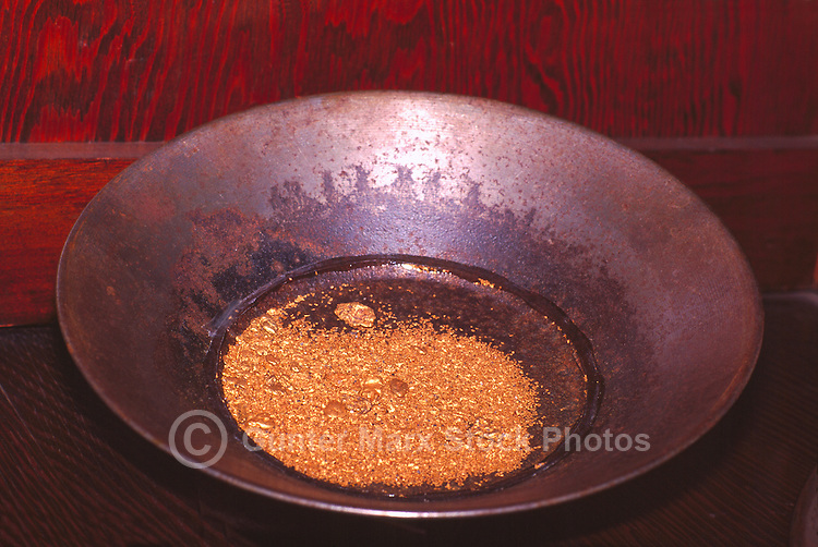 Placer Gold and Gold Nuggets displayed in Gold Pan, Yukon Territory, Canada - Klondike Region