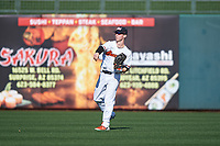 Oregon State Beavers right fielder Kyler McMahan (1) during an NCAA game against the New Mexico Lobos at Surprise Stadium on February 14, 2020 in Surprise, Arizona. (Zachary Lucy / Four Seam Images)