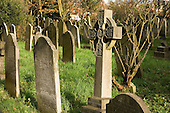 Gravestones in the cemetery of the church of  St John-at-Hampstead, London