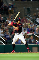 Rochester Red Wings Donovan Casey (21) bats during a game against the Worcester Red Sox on September 4, 2021 at Frontier Field in Rochester, New York.  (Mike Janes/Four Seam Images)