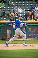 Yasmani Grandal (39) of the Oklahoma City Dodgers watches his bat fly into the stands against the Salt Lake Bees in Pacific Coast League action at Smith's Ballpark on May 27, 2015 in Salt Lake City, Utah.  (Stephen Smith/Four Seam Images)