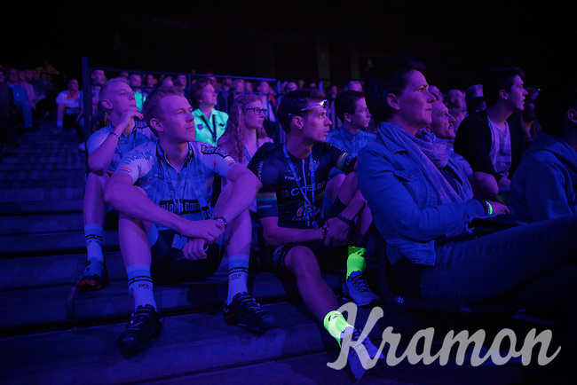 Nys' buddy & (also retiring) teammate Sven Vanthourenhout (BEL/Crelan-AADrinks) siting next to his cousin Dieter Vanthourenhout (BEL/Sunweb-Napoleon Games) whilst enjoying the start of the show from inside the arena<br /> <br /> 'Merci Sven' (twice!) sold out arena event: <br /> tribute-show celebrating Sven Nys' career/retirement together with 18.000 people in the Sportpaleis Arena