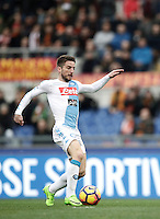 Napoli's Dries Mertens prepares to score his first goal during the Italian Serie A football match between Roma and Napoli at Rome's Olympic stadium, 4 March 2017. <br /> UPDATE IMAGES PRESS/Isabella Bonotto