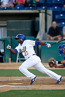 Jonathan Garcia #23 of the Rancho Cucamonga Quakes bats against the Stockton Ports at LoanMart Field on June 13, 2013 in Rancho Cucamonga, California. Stockton defeated Rancho Cucamonga, 8-4. (Larry Goren/Four Seam Images)