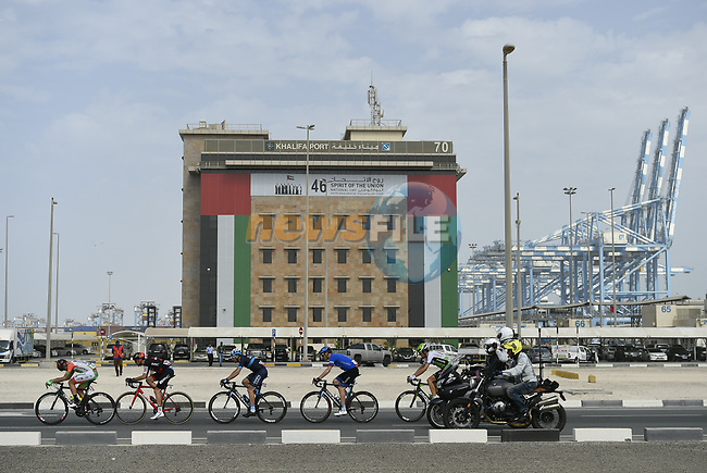 The breakaway group in action during Stage 2 of the 2018 Abu Dhabi Tour, Yas Island Stage running 154km from Yas Mall to Yas Beach, Abu Dhabi, United Arab Emirates. 22nd February 2018.<br /> Picture: LaPresse/Fabio Ferrari   Cyclefile<br /> <br /> <br /> All photos usage must carry mandatory copyright credit (© Cyclefile   LaPresse/Fabio Ferrari)