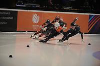 SPEEDSKATING: DORDRECHT: 06-03-2021, ISU World Short Track Speedskating Championships, SF 500m Ladies, Selma Poutsma (NED), Kristen Santos (USA), ©photo Martin de Jong