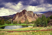 M00143.tif   Pond with cattle. Near Smith Rock State Park (Smith Rock in background), Oregon