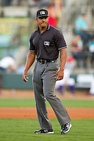 Umpire J.J. January handles the calls on the bases during the Carolina League game between the Carolina Mudcats and the Winston-Salem Dash at BB&T Ballpark on April 13, 2013 in Winston-Salem, North Carolina.  The Dash defeated the Mudcats 4-1.  (Brian Westerholt/Four Seam Images)