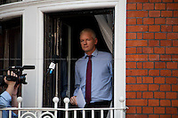 Julian Assange.<br /> <br /> London, 19/08/2012. Today, Julian Assange made his first speech after two months (19th June 2012) he has been living as a refugee in the Ecuadorian Embassy in London. On Thursday he was granted Diplomatic Asylum by the President of Ecuador, Rafael Correa. Previously, Baltasar Garzón (former Spanish Judge, now head of Assange legal team), Tariq Ali, Craig Murrey and others had made speeches in support and solidarity with the Australian Journalist founder of Wikileaks.