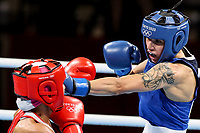 210724 -- TOKYO, July 24, 2021 -- Irma Testa R of Italy confronts Liudmila Vorontsova of the Russian Olympic Committee ROC during the preliminaries of women s feather 54-57kg of boxing event at the Kokugikan Arena in Tokyo, Japan, July 24, 2021.  TOKYO2020JAPAN-TOKYO-OLY-BOXING-PRELIMINARIES OuxDongqu PUBLICATIONxNOTxINxCHN <br /> Photo XINHUA / Imago  / Insidefoto ITALY ONLY