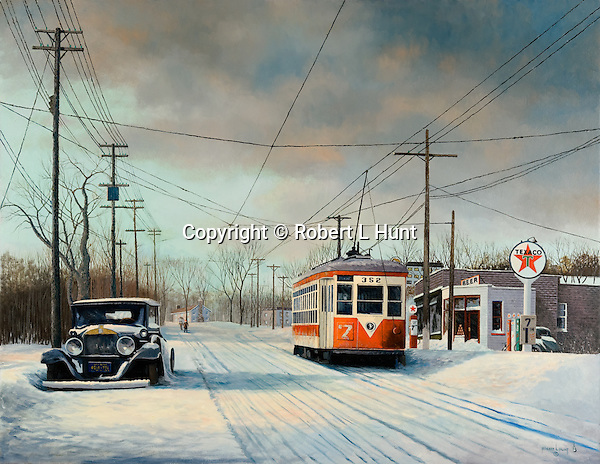 """TARS trolley moving through winter afternoon snow past a Texaco gas station in Yonkers NY, Third Avenue Rail System public transportation circa 1949. Oil on canvas, 31"""" x 40""""."""
