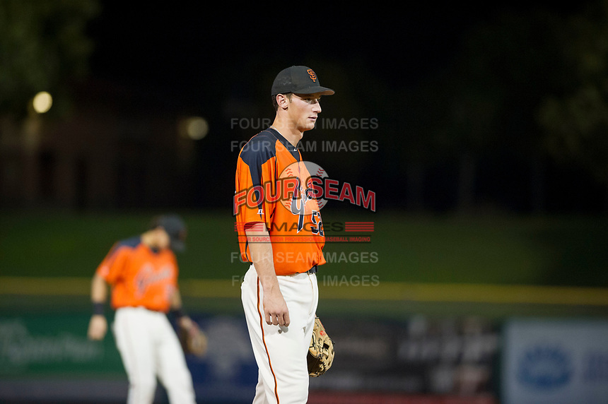 AZL Giants third baseman Jacob Gonzalez (52) on defense against the AZL Cubs on September 5, 2017 at Scottsdale Stadium in Scottsdale, Arizona. AZL Cubs defeated the AZL Giants 10-4 to take a 1-0 lead in the Arizona League Championship Series. (Zachary Lucy/Four Seam Images)